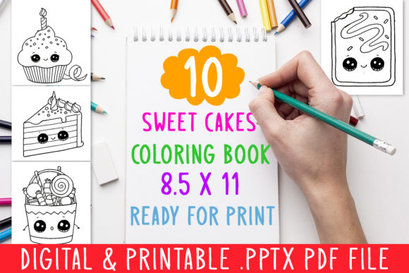 Download Free 10 Sweet Cakes Coloring Book For Kids Graphic By Designsbundles for Cricut Explore, Silhouette and other cutting machines.