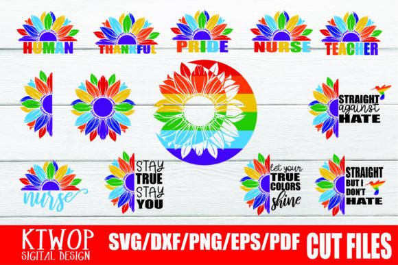 Download Free 13 Files Sunflower Lgbt Gay Pride Bundle Graphic By Ktwop Creative Fabrica for Cricut Explore, Silhouette and other cutting machines.