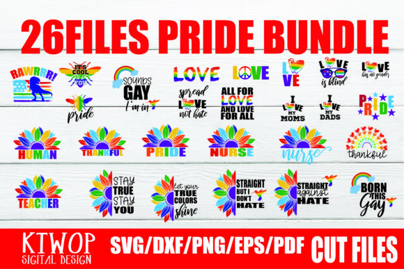 Download Free 26 Files Pride Lgbtq Gay Bundle Graphic By Ktwop Creative Fabrica for Cricut Explore, Silhouette and other cutting machines.