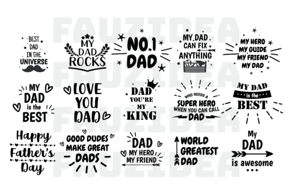 Download Free 30 Father S Day Bundle Graphic By Fauzidea Creative Fabrica for Cricut Explore, Silhouette and other cutting machines.