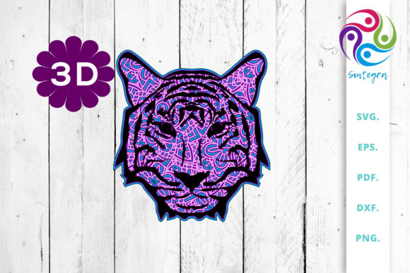 Print on Demand: 3D Multi Layer Tiger Head out of Mandala Graphic 3D SVG By Sintegra - Image 1