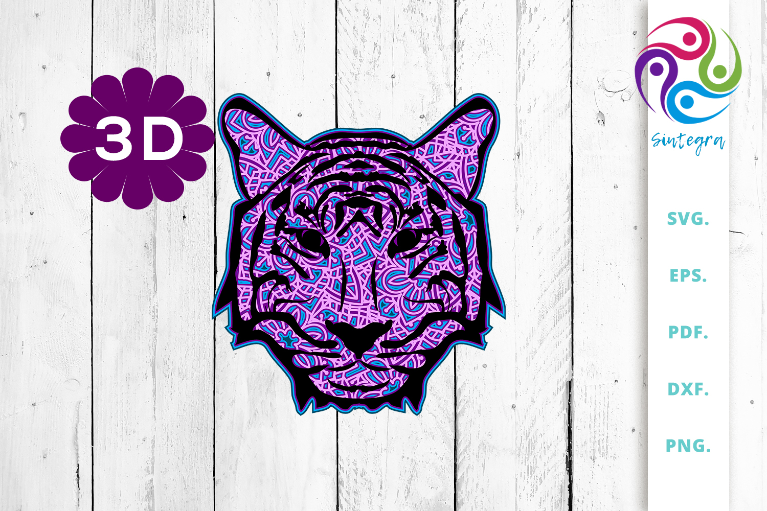 Download Free 3d Multi Layer Tiger Head Out Of Mandala Graphic By Sintegra for Cricut Explore, Silhouette and other cutting machines.