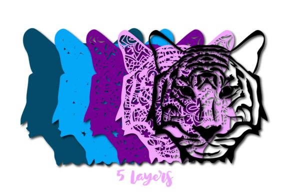 Print on Demand: 3D Multi Layer Tiger Head out of Mandala Graphic 3D SVG By Sintegra - Image 2