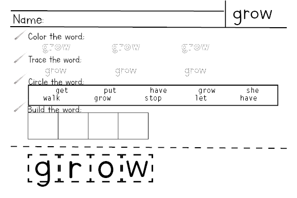 3rd Grade Sight Word Practice Worksheets Graphic Download