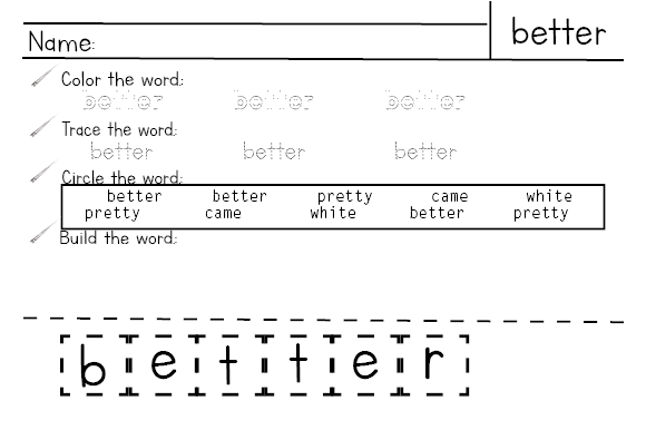 3rd Grade Sight Word Practice Worksheets Graphic Design