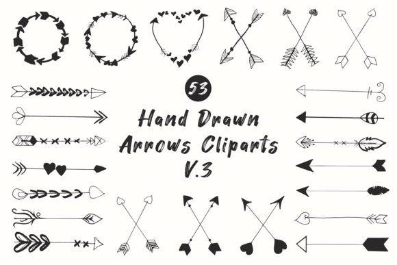 Print on Demand: 50+ Handdrawn Arrows Clipart Ver. 3 Grafik Illustrationen von Creative Tacos