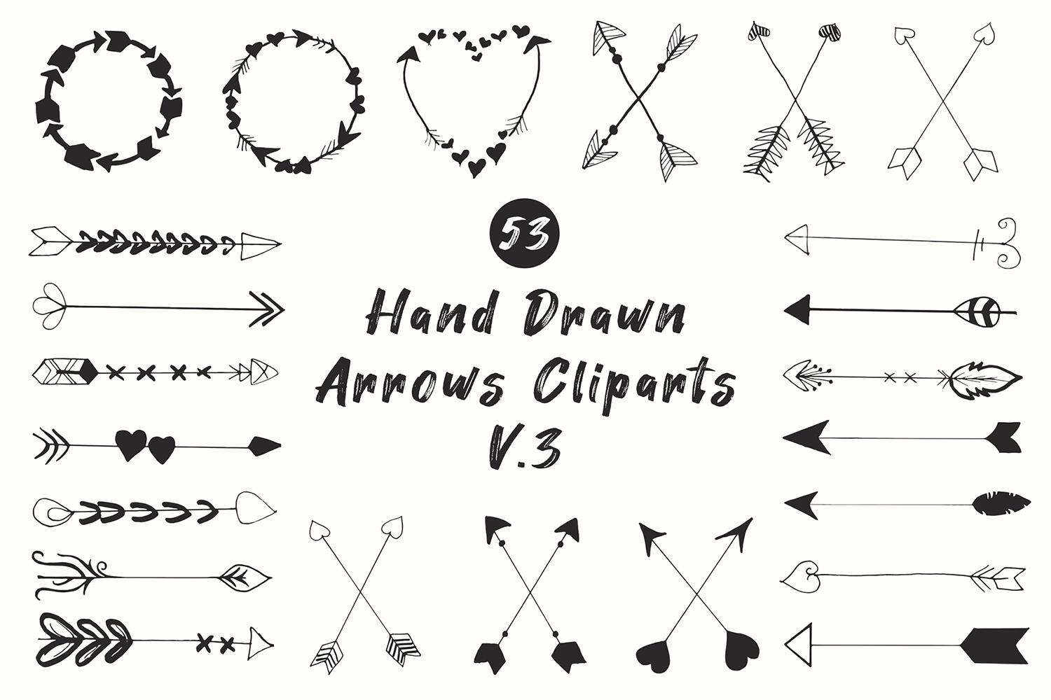50 Handdrawn Arrows Clipart Ver 3 Graphic By Creative Tacos