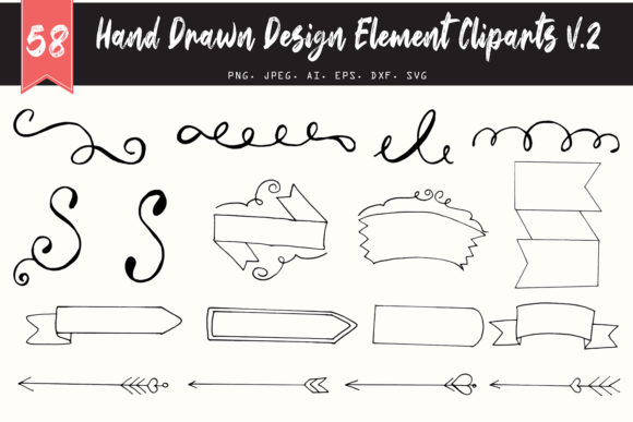 50 Handmade Design Element Cliparts V2 Graphic By Creative