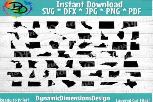 Print on Demand: 50 States US States Silhouette Bundle Graphic Crafts By dynamicdimensions