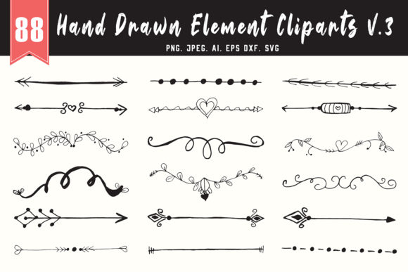 Download Free 80 Handmade Design Element Cliparts V3 Graphic By Creative for Cricut Explore, Silhouette and other cutting machines.