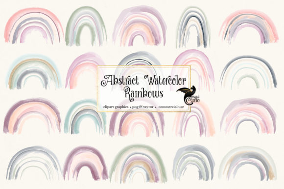 Print on Demand: Abstract Watercolor Rainbows Clipart Grafik Illustrationen von Digital Curio