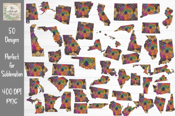 Print on Demand: All 50 States with Mandala Design Graphic Print Templates By You Make It Personal