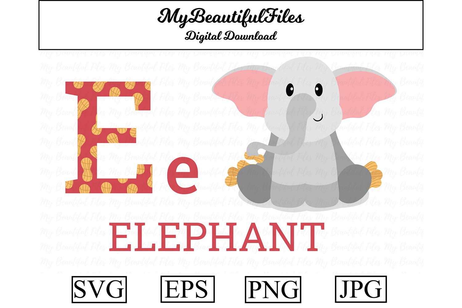 Download Free Alphabet Abc Animal Elephant Graphic By Mybeautifulfiles Creative Fabrica for Cricut Explore, Silhouette and other cutting machines.
