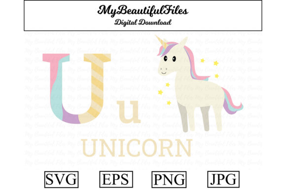 Download Free Alphabet Abc Animal Unicorn Graphic By Mybeautifulfiles for Cricut Explore, Silhouette and other cutting machines.