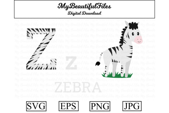 Print on Demand: Alphabet ABC Animal - Zebra Graphic Illustrations By MyBeautifulFiles