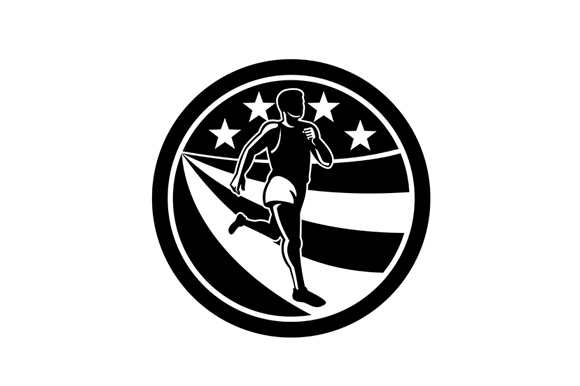 Download Free American Marathon Runner Black And White Graphic By Patrimonio for Cricut Explore, Silhouette and other cutting machines.