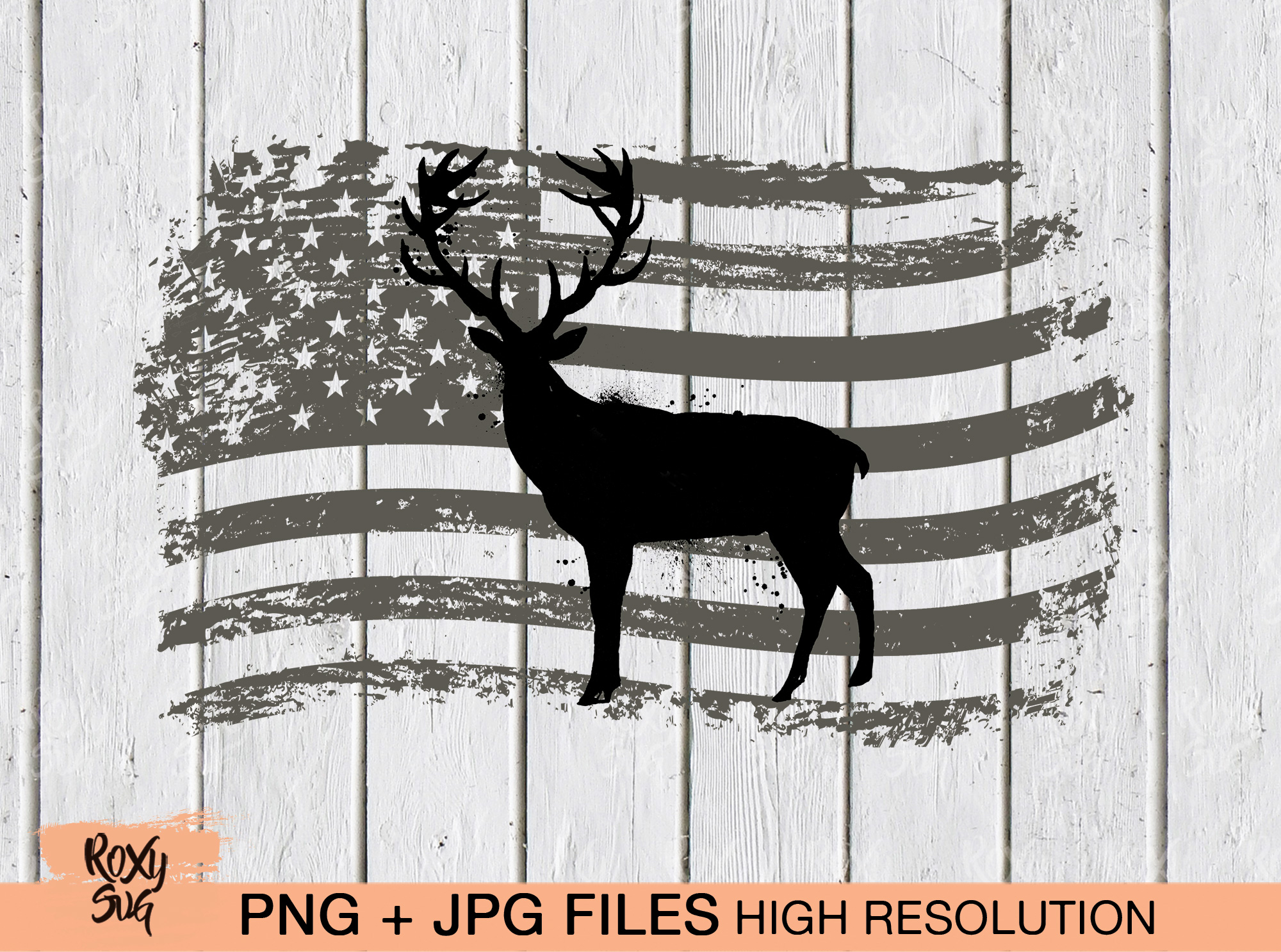 Download Free American Flag Deer Sublimation Graphic By Roxysvg26 Creative for Cricut Explore, Silhouette and other cutting machines.