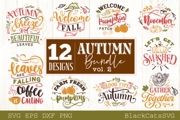 Autumn Bundle 12 Designs Graphic Crafts By BlackCatsMedia