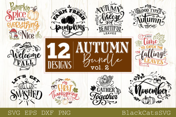 Download Free Autumn Bundle 12 Designs Graphic By Blackcatsmedia Creative for Cricut Explore, Silhouette and other cutting machines.