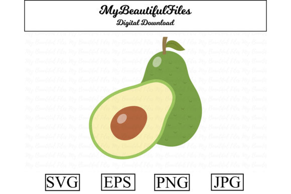 Download Free Avocado Cute Clipart Graphic By Mybeautifulfiles Creative Fabrica for Cricut Explore, Silhouette and other cutting machines.