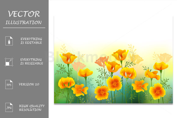 Background with California Poppy Graphic Illustrations By Blackmoon9