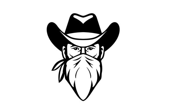 Download Free Bandit Outlaw Face Mask Black And White Graphic By Patrimonio SVG Cut Files