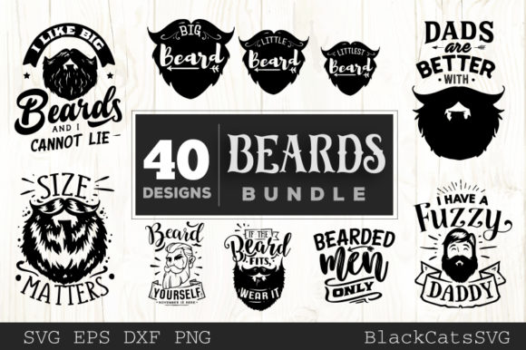 Beards Bundle 40 Designs Graphic Crafts By BlackCatsMedia