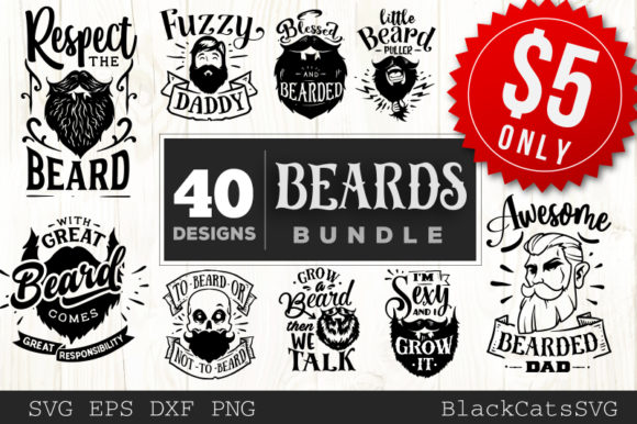 Download Free Beards Bundle 40 Designs Graphic By Blackcatsmedia Creative SVG Cut Files