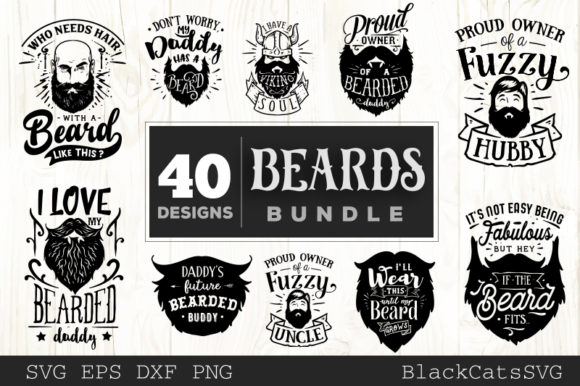 Download Free Beards Bundle 40 Designs Graphic By Blackcatsmedia Creative for Cricut Explore, Silhouette and other cutting machines.