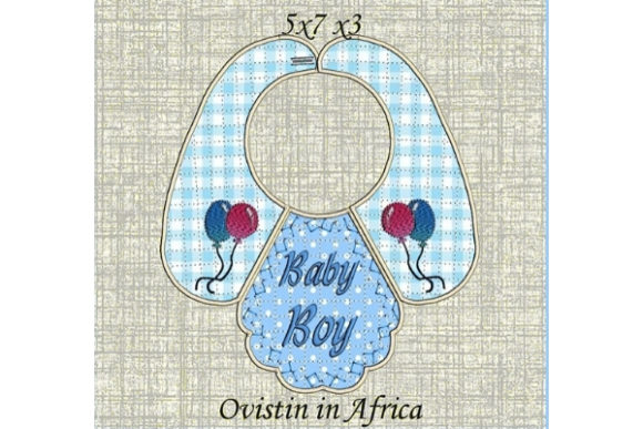 Download Free Beautiful Blue Baby Bib For Small Hoops Creative Fabrica for Cricut Explore, Silhouette and other cutting machines.