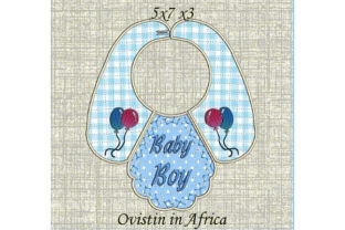 Beautiful Blue Baby Bib for Small Hoops Nursery Embroidery Design By Ovistin in Africa