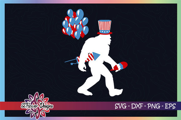 Bigfoot 4th Of July Baloons Fireworks Graphic By Ssflower