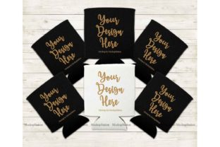 Print on Demand: Black White Can Coolers Mockup Graphic Product Mockups By Mockup Station