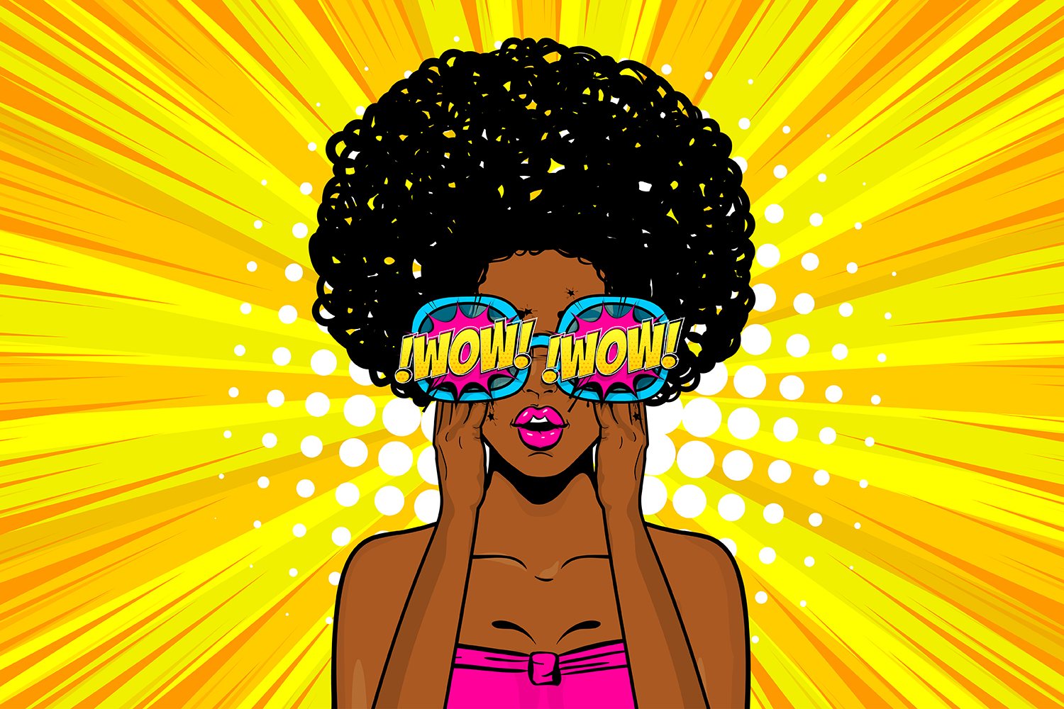 Download Free Black Woman Wow Face Pop Art In Glasses Graphic By Kapitosh for Cricut Explore, Silhouette and other cutting machines.
