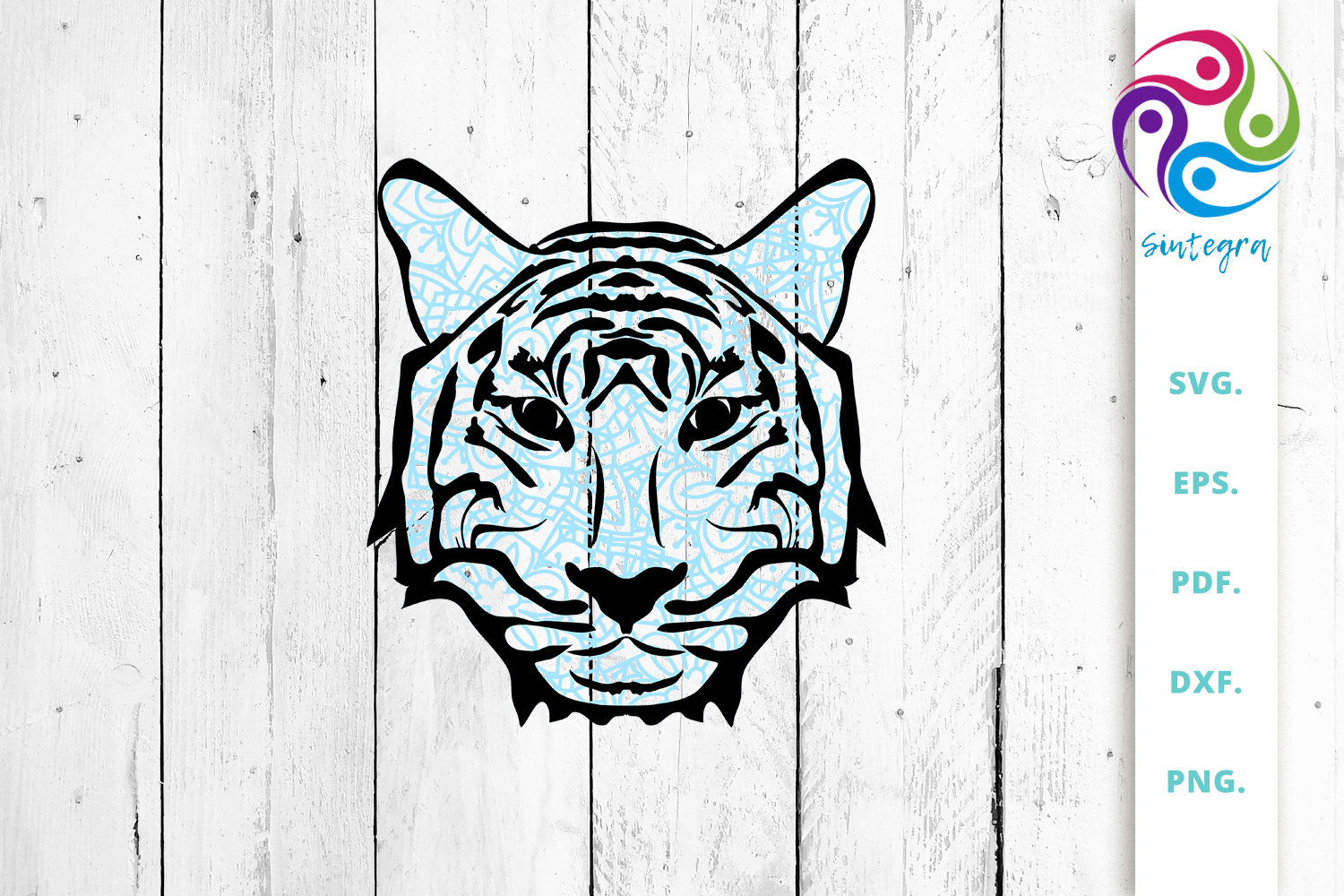 Download Free Blue Zentangle Tiger Face Cut File Graphic By Sintegra for Cricut Explore, Silhouette and other cutting machines.