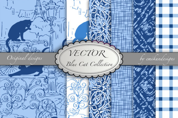 Blue Cat Pattern Collection Graphic Patterns By emikundesigns