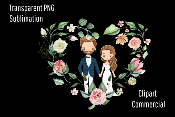Print on Demand: Bride and Groom, Heart Wreath, Married Graphic Illustrations By Blueberry Jam Design