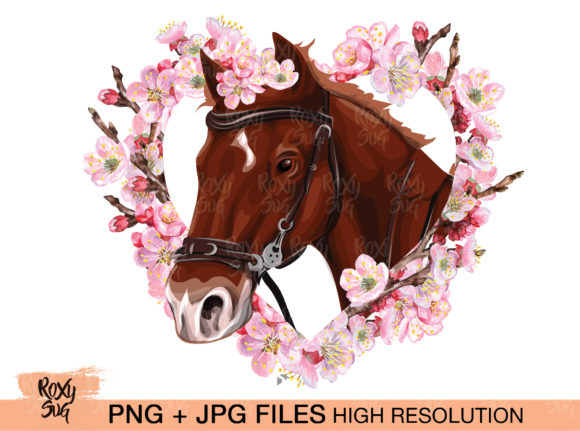Download Free Brown Horse With Flowers Sublimatio Graphic By Roxysvg26 for Cricut Explore, Silhouette and other cutting machines.