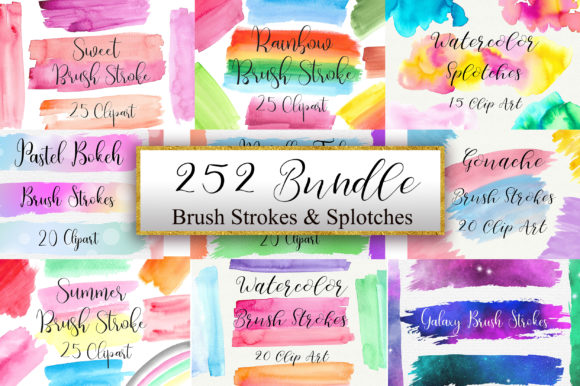 Bundle Brush Strokes Clip Art Graphic Illustrations By PinkPearly