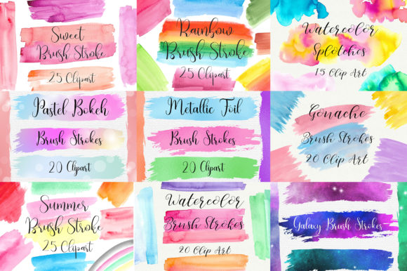 Bundle Brush Strokes Clip Art Graphic Illustrations By PinkPearly - Image 2
