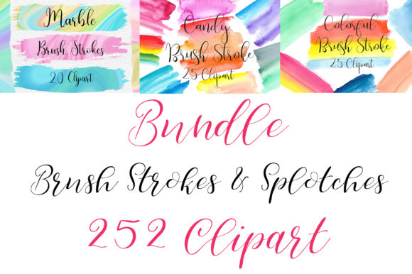 Bundle Brush Strokes Clip Art Graphic Illustrations By PinkPearly - Image 3