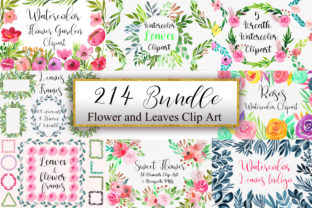 Print on Demand: Bundle Flower and Leaves Clip Art Graphic Illustrations By PinkPearly