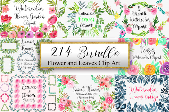 Bundle Flower and Leaves Clip Art Graphic Illustrations By PinkPearly