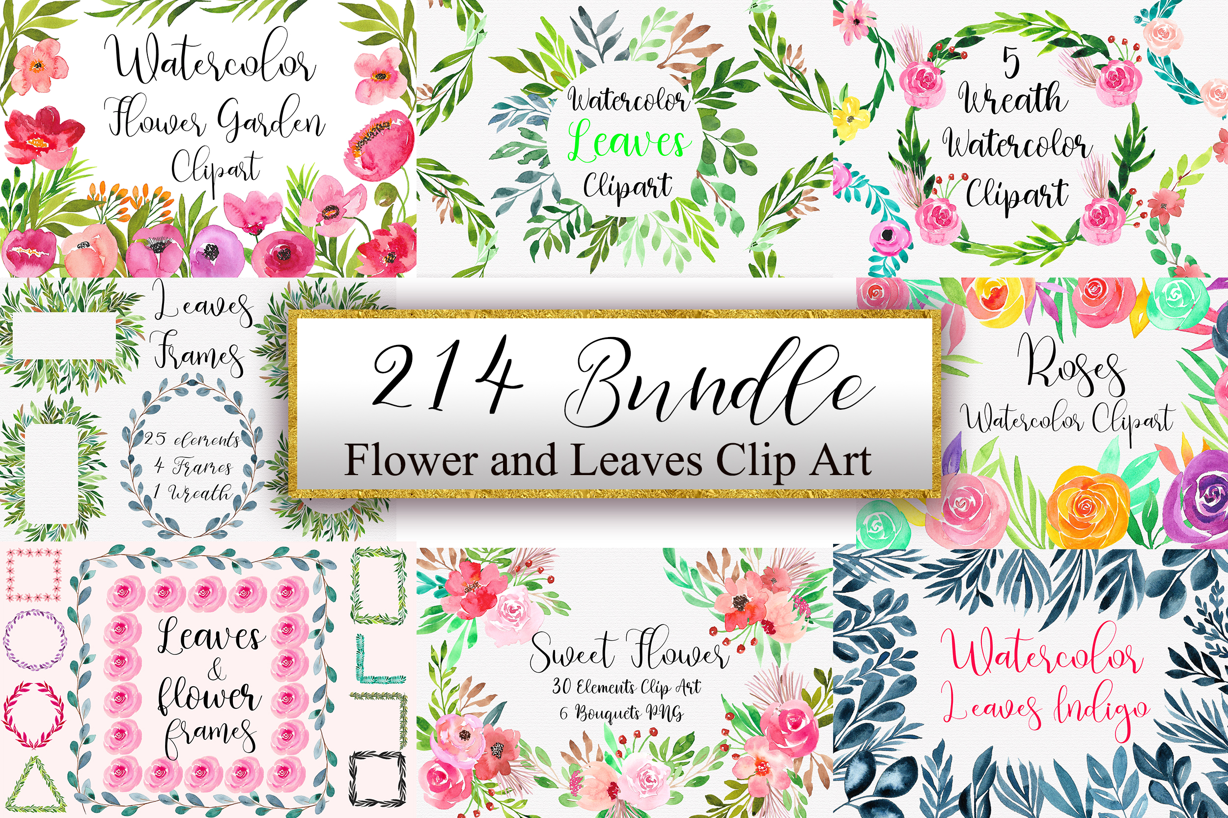 Download Free Bundle Flower And Leaves Clip Art Graphic By Pinkpearly for Cricut Explore, Silhouette and other cutting machines.
