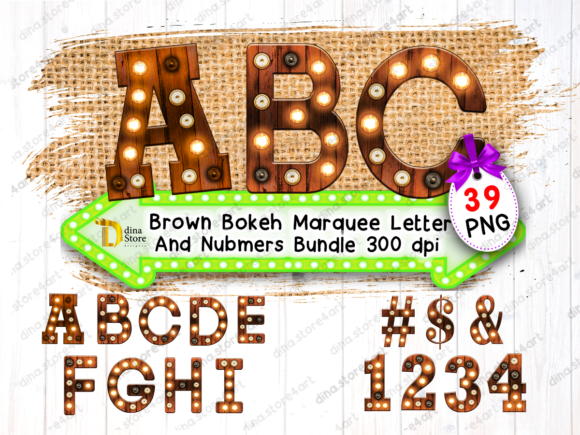 Print on Demand: Bundle of Brown Bokeh Marquee Letters Graphic Crafts By dina.store4art