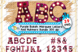 Bundle of Purple Bokeh Marquee Letters Graphic Crafts By dina.store4art