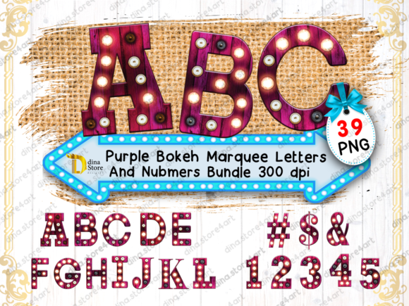Print on Demand: Bundle of Purple Bokeh Marquee Letters Graphic Crafts By dina.store4art