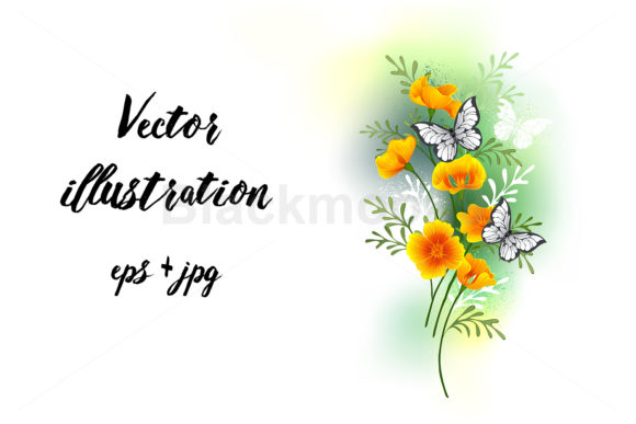 California Poppy with Butterflies Graphic Illustrations By Blackmoon9