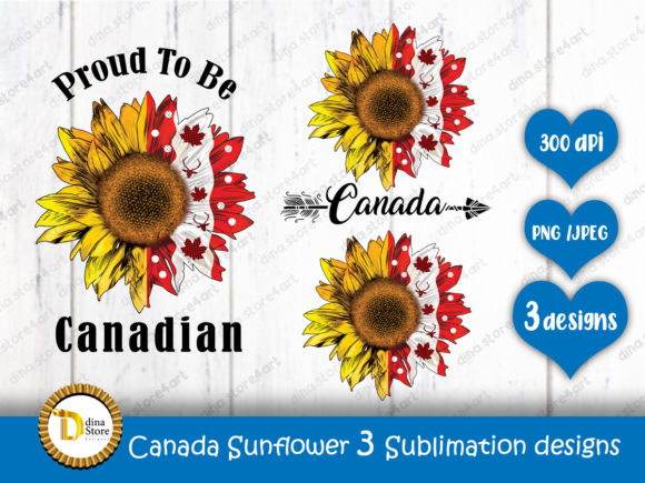 Print on Demand: Canada Sunflower 3 Sublimation Designs Graphic Crafts By dina.store4art