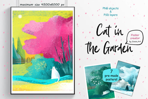 Download Free Cat In The Garden Poster Creator Graphic By Zooza Art for Cricut Explore, Silhouette and other cutting machines.